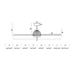 """FARO GRID 33345 52"""" čierna/svetlé drevo Reverzný stropný ventilátor"""