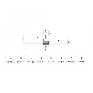 """FARO MINI LANTAU 33508 42"""" matný nikel/tmavý orech Reverzný stropný ventilátor"""