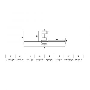 """FARO MINI LANTAU 33509 42"""" matný nikel/borovica Reverzný stropný ventilátor"""