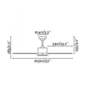 """FARO LUZON 33751 52"""" hnedá/hnedá Reverzný stropný ventilátor"""